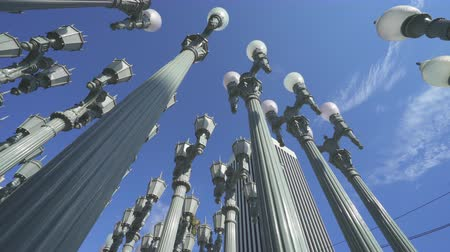 slider shot : Urban light lamp poles, lamp posts at Museum of Art, Los Angeles. Slider shot - August 2017: Los Angeles California, US