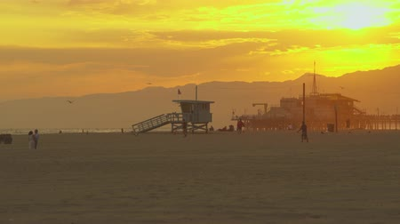 sierpien : Amazing tropical sunset at Santa Monica beach, pier - August 2017: Santa Monica beach, Los Angeles California, US Wideo