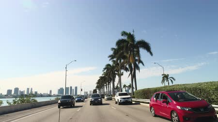 мостовая : Driving through Miami traffic. Pov driving on the Miami streets, roads - March 2018: Miami, Florida, US Стоковые видеозаписи