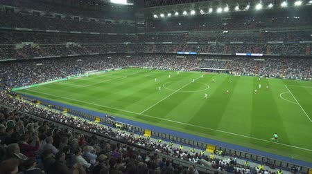 real madrid : Soccer game in Santiago Bernabeu football stadium - April 2018: Madrid, Spain