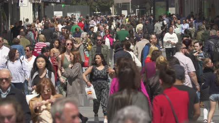vibrující : Pedestrian traffic on a shopping street. Busy street in central Madrid - Spain