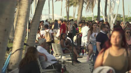 walkers : Miami beach cityscape. Crowds of students and tourists walking in the Lummus Park