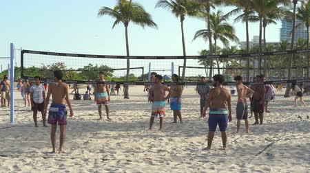 volleyball : Miami beach cityscape. Volleyball in south beach at spring break time. Stock Footage