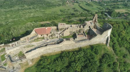 citadela : Aerial shot of European castle, fortress. Szigliget castle - Hungary, Lake Balaton Vídeos