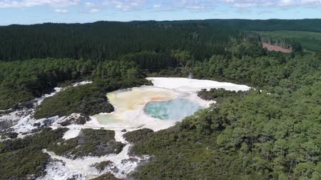 гейзер : Aerial of geothermal hot spring area - New Zealand, Rotorua, Waiotapu Стоковые видеозаписи