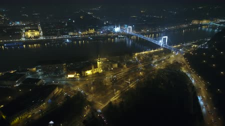 budapeszt : Aerial view of Budapest at night - Elizabeth bridge and traffic Wideo