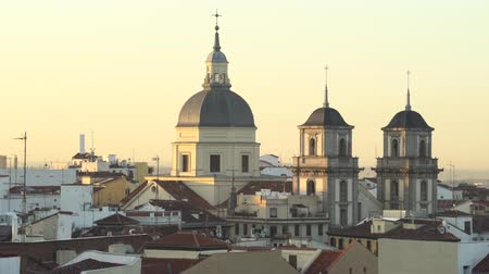 historical : Downtown Madrid cityscape, skyline. Rooftops and buildings in the city center
