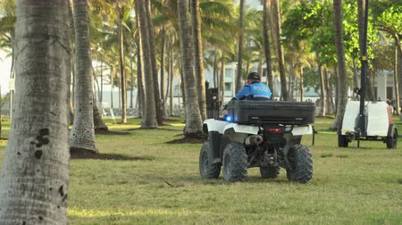 quads : Miami Beach police car with flashing lights at Lummus Park, Ocean Drive, Miami