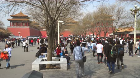 peking : Crowd of people in Forbidden City - March 2017: Beijing, China