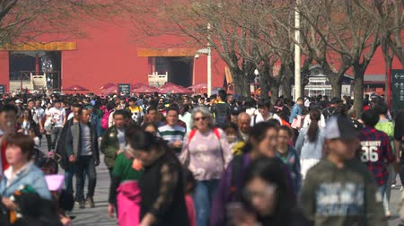peking : Crowd of tourists in Forbidden City, Beijing, China. Crowded street - March 2017: Beijing, China
