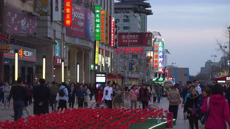 peking : Busy shopping street in China at night. Crowded Wangfujing street in Beijing - March 2017: Beijing, China Dostupné videozáznamy