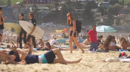 many surfers : Crowded tropical beach with surfers - March 2017: Bondi beach, Sydney, Australia Stock Footage