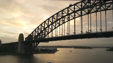 kirribilli : Sydney Harbor bridge at sunset - View from Kirribilli Stock Footage