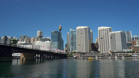 darling : Sydney downtown. Darling harbor, pan shot - March 2017: Sydney, Australia