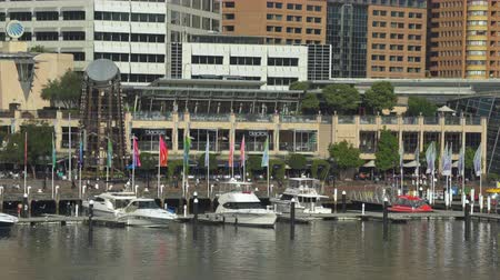 darling : Sydney downtown. Darling Harbor with boats - March 2017: Sydney, Australia Stock Footage