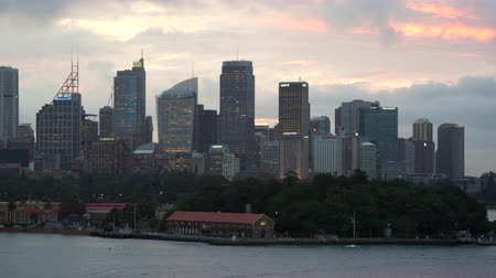kirribilli : Sydney cityscape at sunset, Buildings at nightfall - March 2017: Sydney, Australia