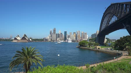 kirribilli : Sydney cityscape. Opera House, Harbor Bridge and Buildings - March 2017: Sydney, Australia Stock Footage