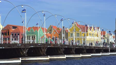 curacao : Caribbean city scape. Bridge and colorful buildings - Willemstad, Curacao