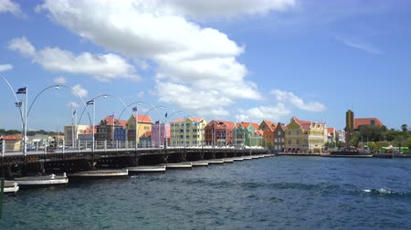 curacao : Time lapse of moving floating bridge - Willemstad downtown, Curacao