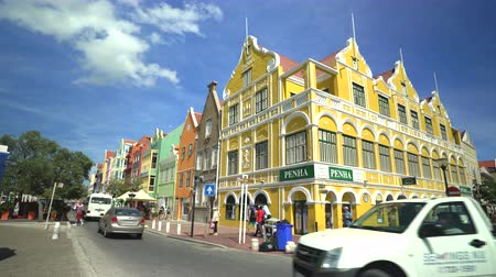 curacao : Caribbean city scape. Colorful buildings - Willemstad downtown, Curacao