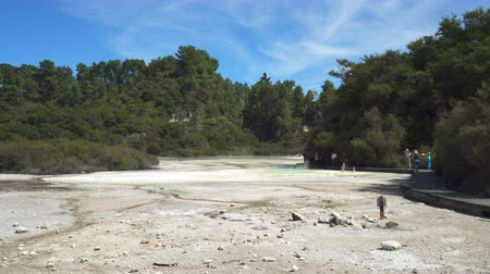 hotpot : Geothermal steam, hot spring area - New Zealand, Rotorua, Waiotapu Stock Footage