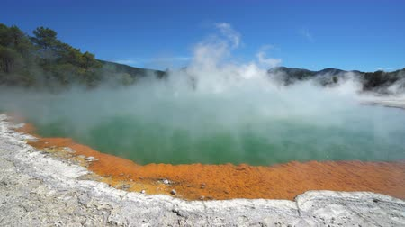 hotpot : Steaming boiled geothermal water - New Zealand, Rotorua, Waiotapu Stock Footage