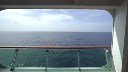handrails : Look out from a cruise liner balcony room - a sliding shot Stock Footage