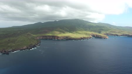 espetacular : Aerial view of a green volcanic island in the Ocean - Socorro Island Stock Footage