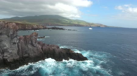 espetacular : Flyover of cliff, steep Ocean coastline - Socorro Island Stock Footage