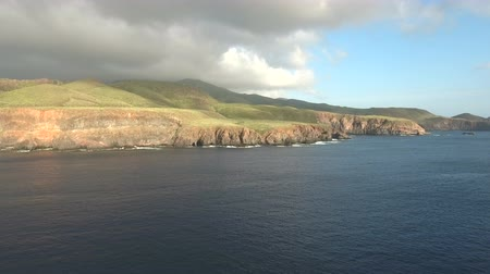 pacific islands : Aerial view of a green volcanic island, Ocean cliff - Socorro Island