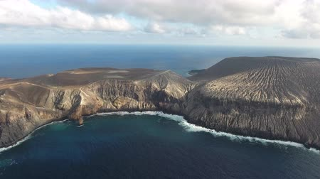 cooling : Aerial panoramic view of volcanic island - Pacific Ocean, San Benedict, Mexico
