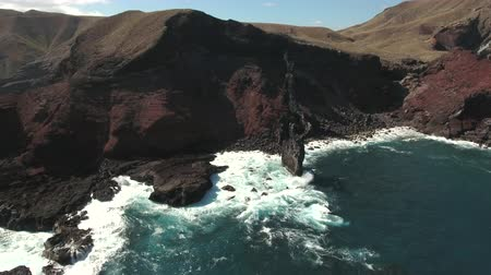 crashed : Aerial view of ocean cliff, steep rocky coastline - San Benedict Island