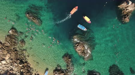 arco : Aerial view of snorkelling people, tourists in a tropical beach - Cabo San Lucas Stock Footage