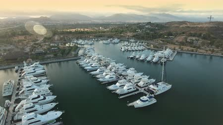 cabo san jose : Aerial view of yachts in a tropical marina - San Jose del Cabo, Mexico Stock Footage