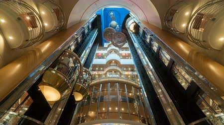 бортовой : Time laps of elevators inside a cruise ship