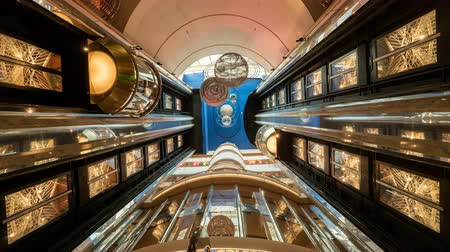 lights up : Time laps of elevators inside a cruise ship