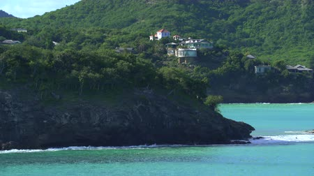 richness : Aerial of luxury oceanfront apartments - Caribbean Island, Antigua Stock Footage