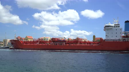 curacao : Tanker cargo ship arriving in a harbor - Willemstad, Curacao