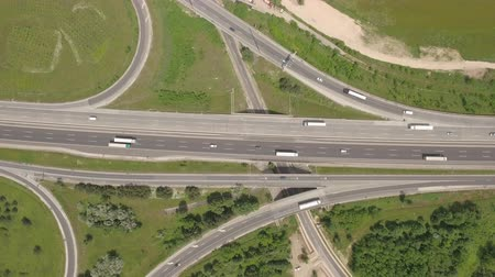genişleme : Aerial view of motorway junction, freeway intersection Stok Video