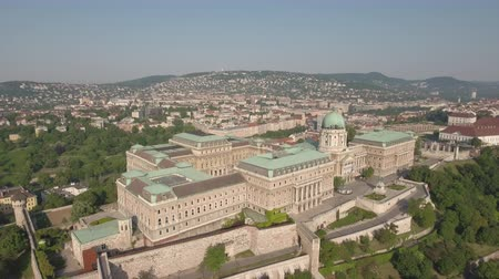 monarchy : Aerial view of Budapest - Buda castle, Hungary Stock Footage