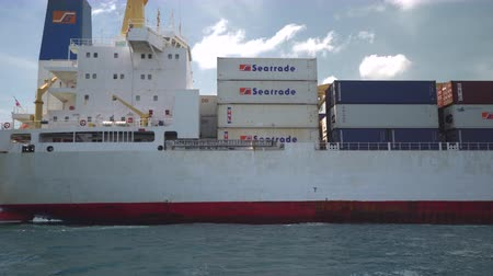 curacao : Big container cargo ship arriving in a port, harbor