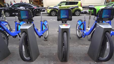 docking : Citi bike docking station, slider shot - New York city, Manhattan