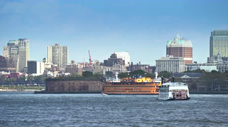 Staten Island ferry moving on Hudson river - New York city