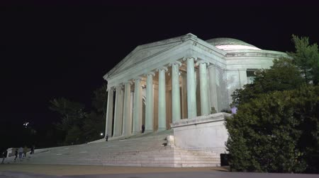 president of united states : Thomas Jefferson memorial at night, slider shot - Washington DC