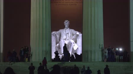 president of united states : Abraham Lincoln Memorial sculpture at night - Washington DC