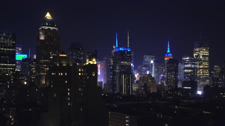 megalopolis : Manhattan skylines, skyscrapers at night - New York City