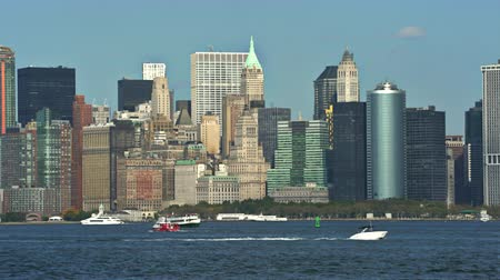 megalopolis : New York City skylines, Hudson river side - Manhattan cityscape Stock Footage