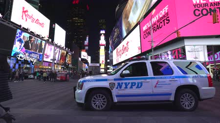 counterterrorism : New York City Time Square with police car at night - Manhattan street scene