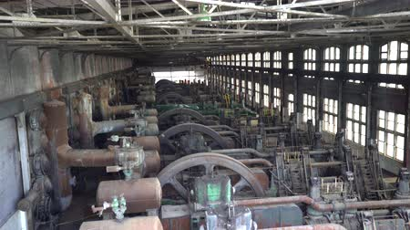 engineered : Abandoned steel factory, industrial ruin, engine house - Steel stacks, Us