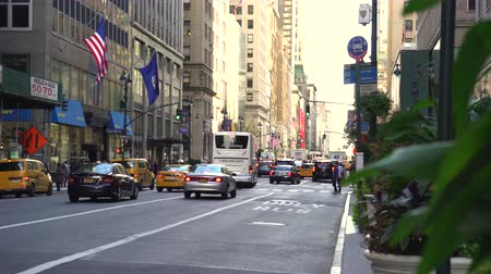 road sign : New York city traffic, street scene, slider shot - Manhattan Stock Footage